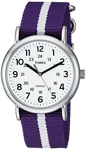 Timex Unisex TW2P68400 Weekender Purple/White Stripe Nylon Slip-Thru Strap Watch