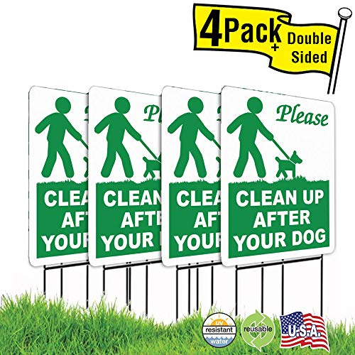 4 Pack 9x12 Clean Up After Your Dog Lawn Signs with H-stakes (4) ()