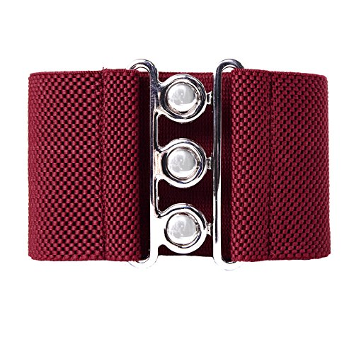 Women's Wide Elastic Stretch Buckle Waistband Waist Belts Wine Red(M) CL8962-4