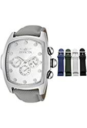Invicta Men's 11730 Lupah Collection Silver Textured Dial Interchangeable Leather Strap Watch Set