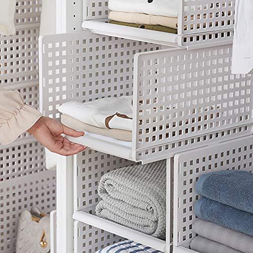 HyFanStr Stackable Plastic Wardrobe Organizer Drawer Style Storage Basket Closet Cabinet Storage Shelf (Small x 2)