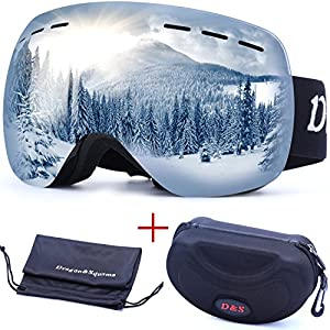 OTG Ski Goggles for Men Women, Detachable Dual Spherical REVO Lens UV400 Protection Anti Fog Skiing Goggle Over the Glasses for Snowboarding,Snowmobile Winter Snow Sport (Silver Chrome)