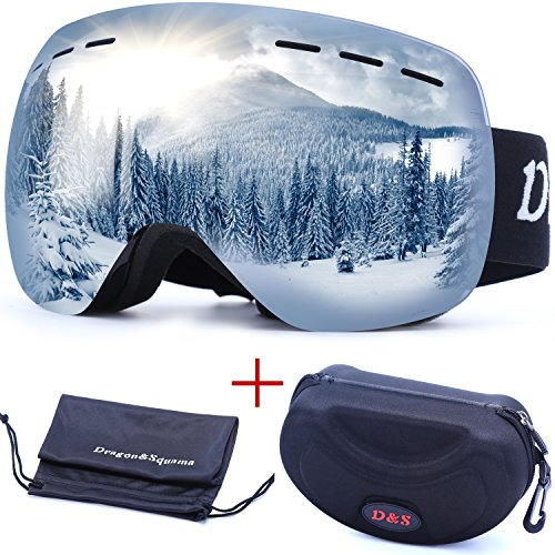 OTG Ski Goggles for Men Women, Detachable Dual Spherical REVO Lens UV400 Protection Anti Fog Skiing Goggle Over the Glasses for Snowboarding,Snowmobile Winter Snow Sport (Silver - Sunglasses For Men Goggles Ski