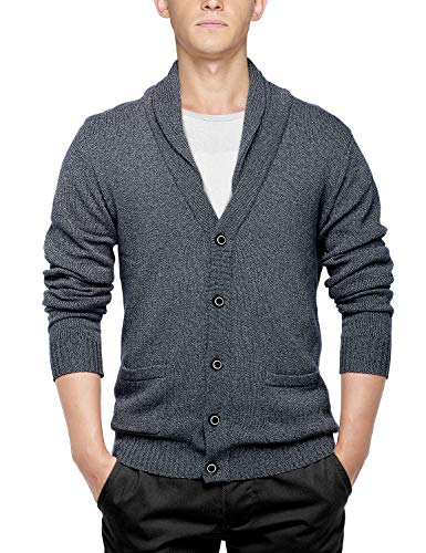 - Match Men's Sweater Series Buttoned Cardigan #12088(US M (Tag Size XL),Dark Heather Gray)