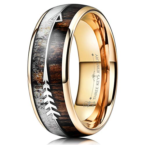 Three Keys Jewelry 8mm Rose Gold Tungsten Wedding Ring with Real Antler Zebra Wood Two Arrows Inlay Dome Hunting Ring Wedding Band Engagement Ring Size 10