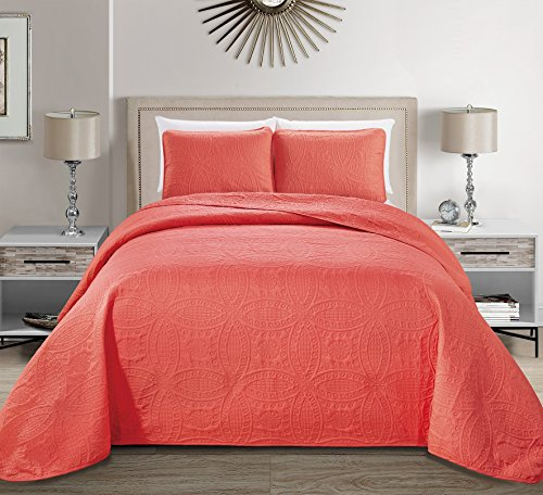 MK Home Mk Collection 3pc King/California King Solid Embossed Bedspread Bed Cover Over Size Coral New (Coral Bedding Set)