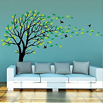 Large Dark And Green Tree Blowing In The Wind Tree Wall Decals Wall Sticker  Vinyl Art