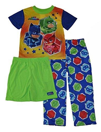 Pj Mask Toddler Boys Bedtime Heroes 3 Piece Pajama Set  All Star Blue  4T