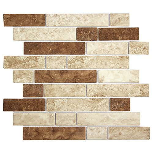 ycled Glass Tile Brick Pattern - Beige Mix Recycled Mosaic - For Bathrooms, Kitchens, Floors, Backsplashes (4 x 6 Inch Sample) (Recycled Glass Floor Tile)