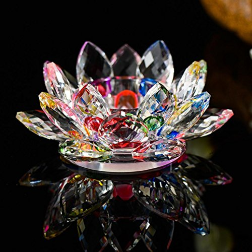 Lavany Lotus Crystal,7 Colors Crystal Glass Lotus Flower Candle Tea Light Holder Buddhist Candlestick (B)