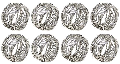 Divine glance Silver Round Mesh Napkin Rings for Weddings Dinner Parties or Every Day Use (8)