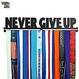 Visual Elite | Never Give Up | Sports Medal Display Hanger Hand-Forged Black Metal Hanger Design for Marathon, Running, Race, 5K, Wrestling, Jiu Jitsu, Spartan, Etc. The Medal Hangers Collection