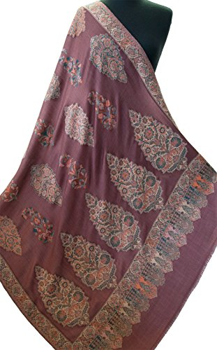 Wine Red Shawl Large Hand-Cut Kani Gold Jamavar Paisley Wool with Fine Details by Heritage Trading