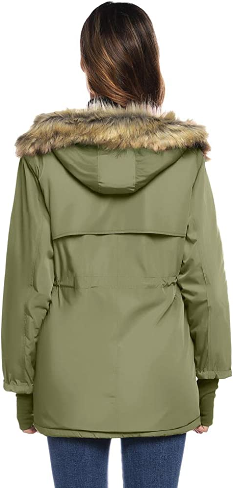 GRACE KARIN Femme Hiver Chaud Manteau Matelassé Epaiss avec Capuche en Fourrure Artificielle Zipper Doudoune Parka de Grande Taille Vert Armée