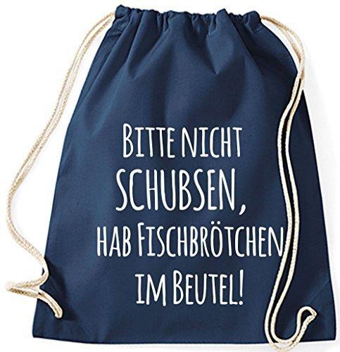 Il Mio Zwergenland Jutebeutel Si Prega Di Non Spingere, Cuocere Il Pesce Nel Sacchetto, 12l, Blu, Motivo 85