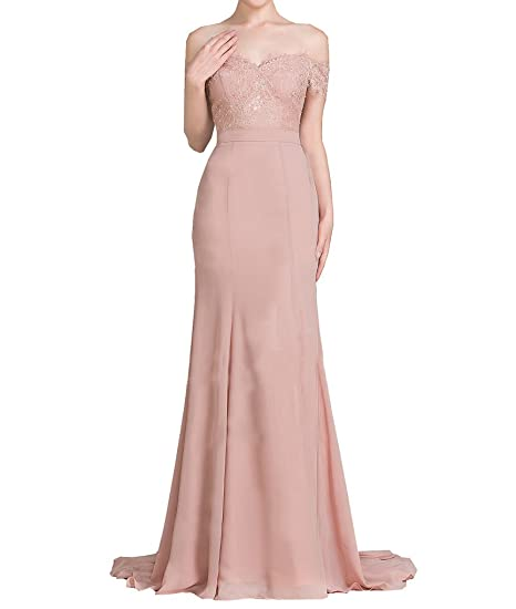 Chiffon Trumpet Evening Dress Off-The-Shoulder Mermaid Sequins Lace Prom Dress