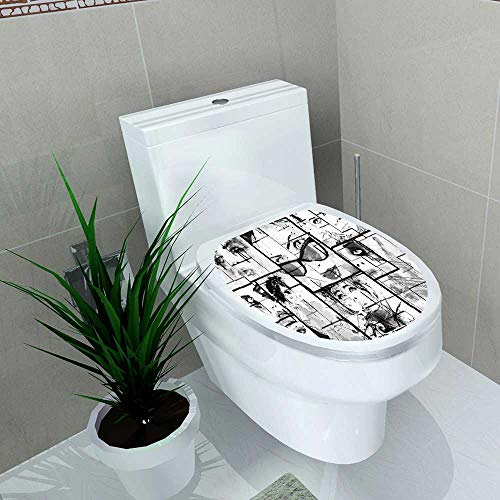 Auraise-home Decoration Bathroom Toilet Cover Sticker Fashion House Women Faces with Different Eye Makeup Eiffel Tower Romance ParisImage Black White for Restroom Wall Decals W8 x L11