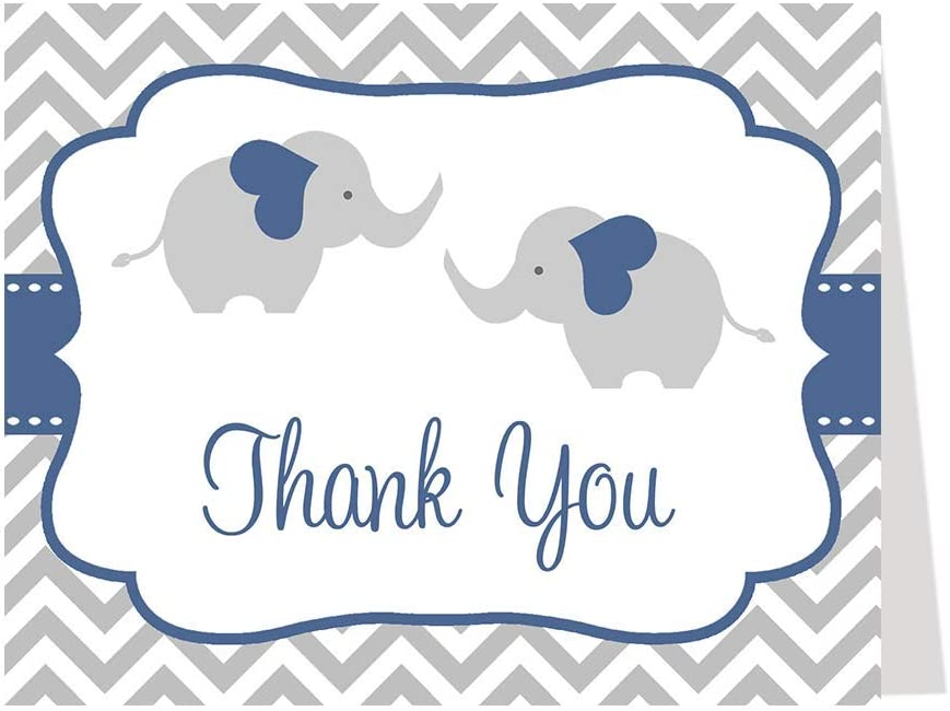 Amazon Com Elephant Twin Baby Shower Thank You Card Chevron Stripes Boys Navy Blue Grey Gray It S A Boy Little Peanut Polka Dots Twins Thanks 50 Count Office Products