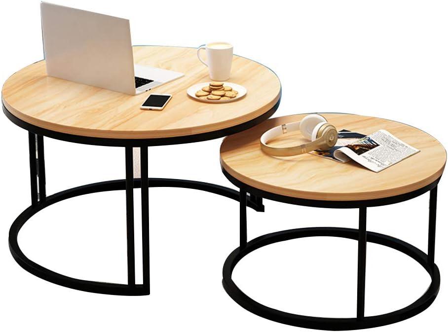 YNN ポータブルテーブル 2ラウンドエンドテーブル、金属脚付きコーヒーテーブル、多機能サイドテーブルダイニングテーブルリビングルームバルコニー7色のセット (色 : A)