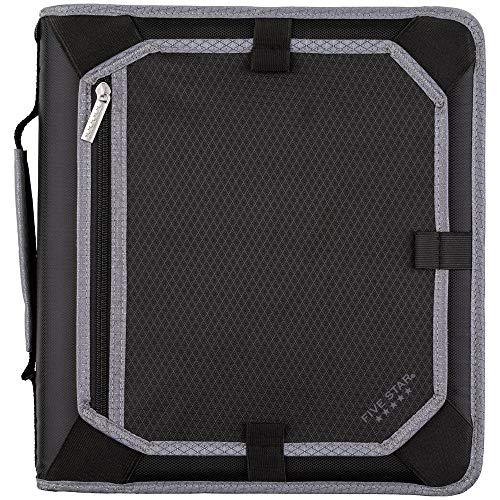 Five Star 2 Inch Zipper Binder, 3 Ring Binder, Expansion Panel, Durable, Black/Gray (29052IT8) (3 Ring Binder Zipper 2 Inch)
