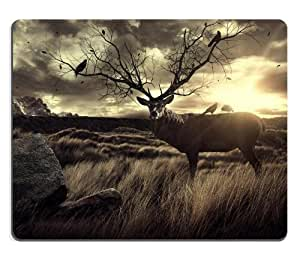 Deer Bird Nature Sunset Scenery Mouse Pads Customized Made to Order Support Ready 9 7/8 Inch (250mm) X 7 7/8 Inch (200mm) X 1/16 Inch (2mm) High Quality Eco Friendly Cloth with Neoprene Rubber Luxlady Mouse Pad Desktop Mousepad Laptop Mousepads Comfortable Computer Mouse Mat Cute Gaming Mouse pad