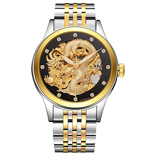 - Kteta Business Dragon Skeleton Automatic Mechanical Watches For Men Tourbillon Wristwatches Stainless Steel Strap 50M Waterproof (Two-tone gold and black)