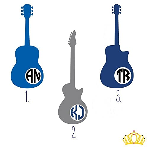 Amazoncom Custom Monogram Initial Guitar Vinyl Decal Sticker For - Custom vinyl stickers for guitars