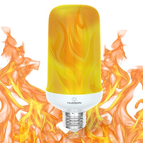 LED Flame Effect Light Bulb: E26 Standard Base Flame Bulb - Upside Down Effect - 3W - 200 Lumen - Energy Efficient Flickering Fire Lights for Indoor/Outdoor Use - 1 -