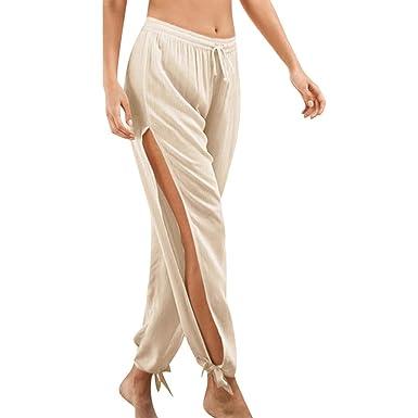 beautyjourney Pantalón Ancho de Playa para Mujer en algodón ...