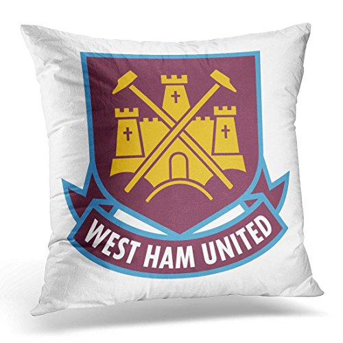 Sdamas Throw Pillow Cover League London England Feb 24 of West Ham United F C Football Pillow Case Home Decor Square Pillowcase Decorative 20x20 Inches ()