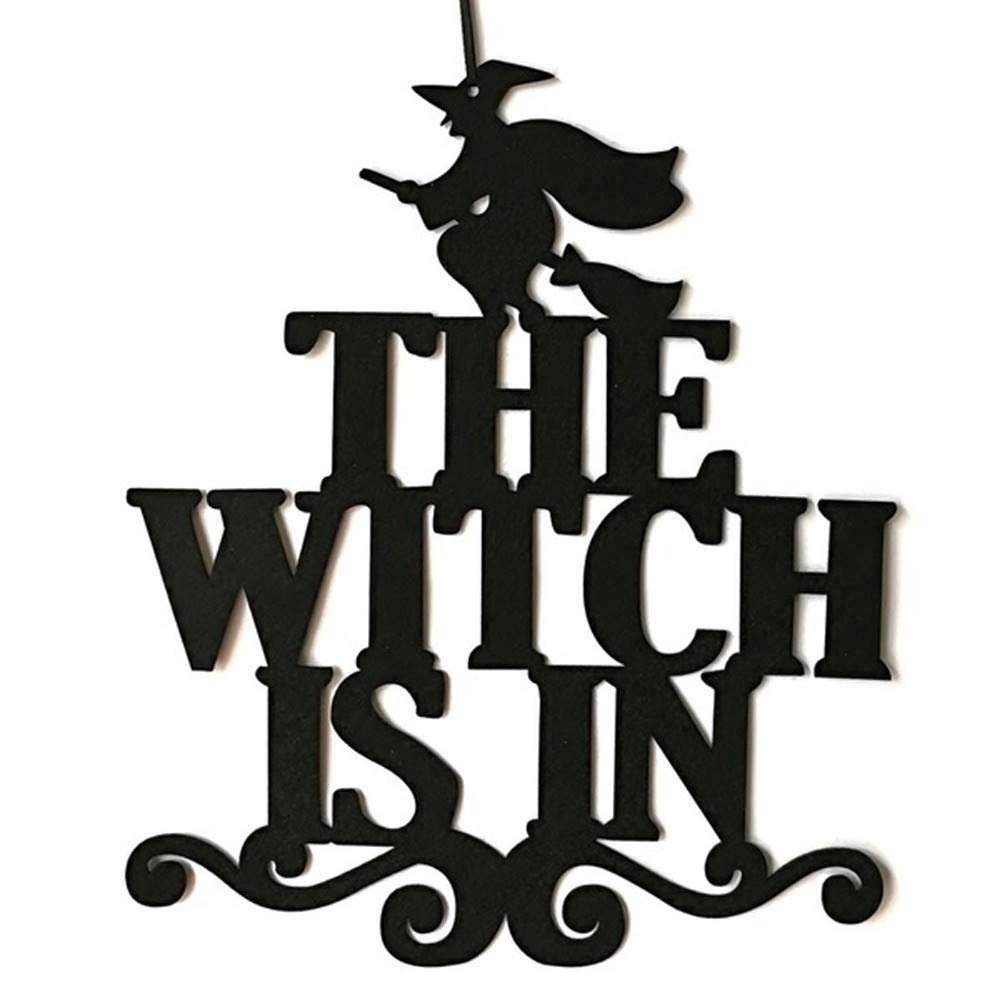 Yezijin Halloween Decoration, The Witch is in Halloween Hanging Sign Door Hanging Decor (A)