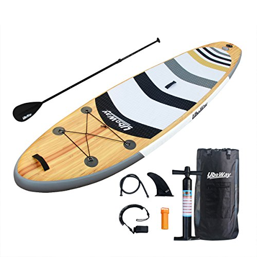 Uboway Two Layer Inflatable Stand Up Paddle Board with Adjustable Paddle, Backpack, Pump, Elastic Rope, Fin, Repair Kit 11' Long x 32'' Wide x 6'' Thick (Double Layer Wood Grain) 6' 11' Long Top