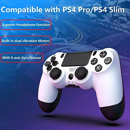 MOVONE Wireless Controller Dual Vibration Game Joystick Controller for PS4 Controller,Compatible with Playstation 4 (White+Black)