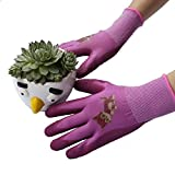 Gardening work Gloves Safety Gloves- PROMEDIX -Gardening Gloves for Children Work Gloves For Gardening, Fishing, Clamming, breathable & special protective coating against cuts Girl (Rose Red)