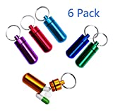 Willcome 6 Pack Waterproof Aluminum First Aid Travel Drug Pill Box - Outdoors Small Medicine Bottle Keychain Pill Container