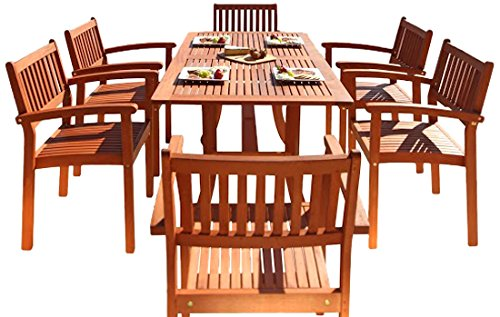 Vifah V187SET4 Bayeux Outdoor 7-Piece Wood Patio Dining Set with Stacking Chairs, Natural - Included 1 rectangular table with umbrella hole, 6 chairs No cushion or pillows included 1-year warranty against manufacturing defects - patio-furniture, dining-sets-patio-funiture, patio - 51mYeXwcmLL -