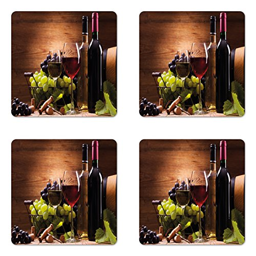 Ambesonne Wine Coaster Set of Four, Glasses of Red and White Wine Served with Grapes French Gourmet Tasting, Square Hardboard Gloss Coasters for Drinks, Brown Ruby Pale Green ()