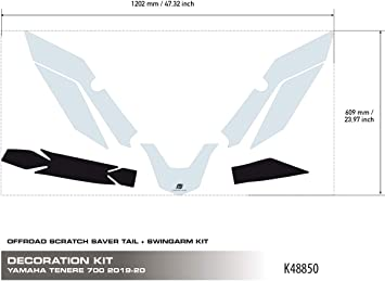 Uniracing K48850 Off Road Scratch Saver For Yamaha Tenere 700 2019 20 Rear Swing Arm Set Transparent Black Auto