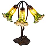 """River of Goods 14709J 16"""" H Mercury Glass 3 Lily Downlight Accent Lamp, Green/Amber"""