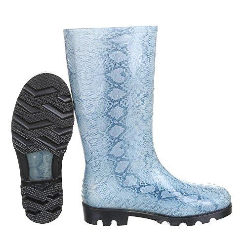 Ital-Design - Botas de Caucho para mujer Azul - Blau 22