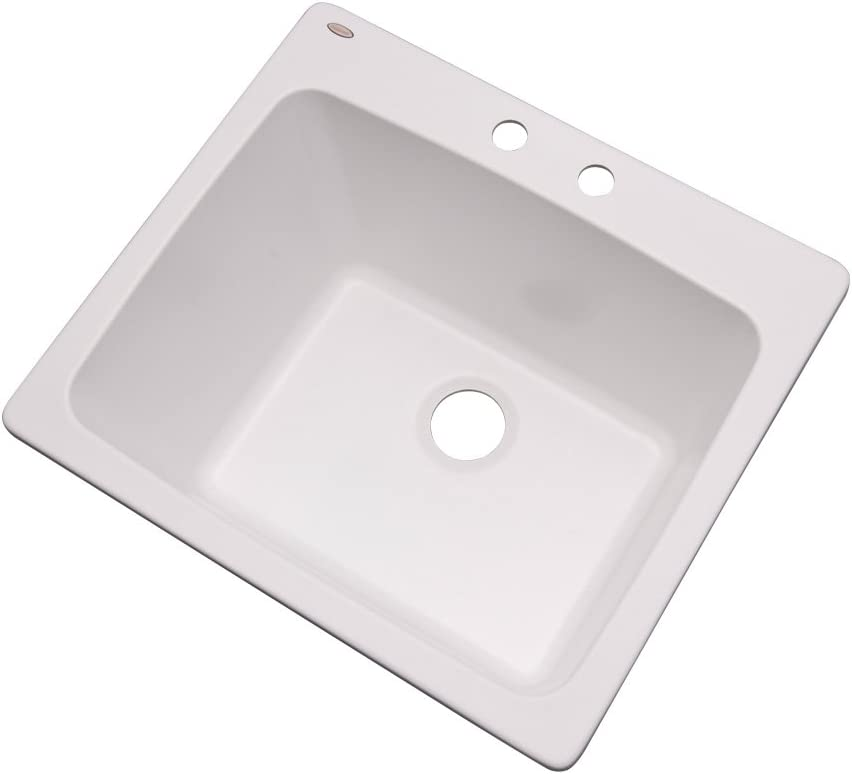 "Dekor Sinks 42200NSC Westworth Composite Utility Sink with Two Holes, 25"", White Natural Stone"