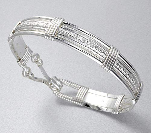 Handmade Sterling Silver Forget-Me-Not Flower Patterned Wire Wrapped Bracelet - 7 Inch Inner Measurement