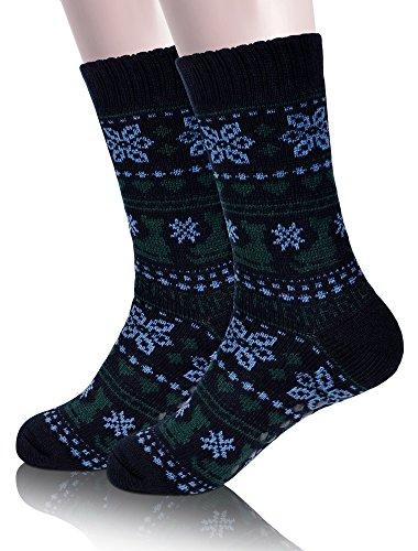 EBMORE Mens Fuzzy Slipper Socks Fleece Lined Warm Christmas Cozy Winter Socks with Grippers (Men-Black&Blue) - Fleece Socks Men