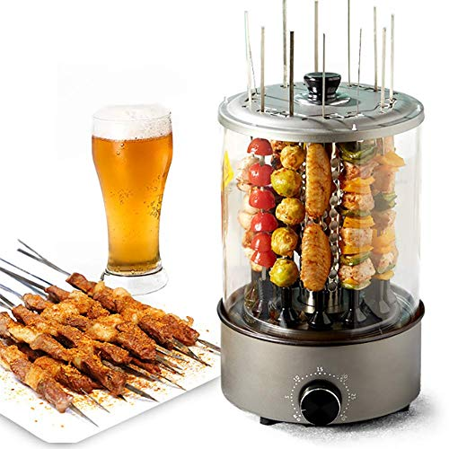 D&F Electric Barbecue Grill Self-Service Skewers Portable Indoor Smokeless 360 ° Automatic Rotation, High Temperature Imitation Charcoal Fire Ideal for Family, Party
