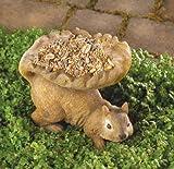 MD-group Squirrel Birdfeeder plump squirrel bounty fluffy outdoor accent POLYRESIN 7'' x 4'' x 6''
