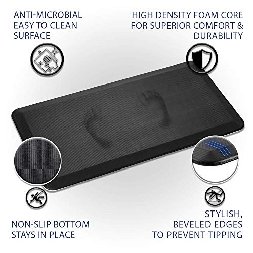 ComfiLife Anti Fatigue Floor Mat – Perfect Kitchen Mat, Standing Desk Mat – Comfort at Home, Office, Garage – Durable – Stain Resistant – Non-Slip Bottom – Black, 20''x32'' by ComfiLife (Image #8)