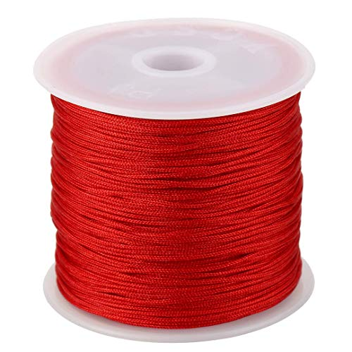 (0.8mm Nylon Cord, Thread Chinese Knot Macrame Rattail Bracelet Braided String (Red))