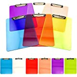 Adorox Set of 6 Standard Size Clipboards Clear Colorful Transparent Low Profile Clip Mix Assorted Colors