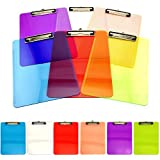 Adorox Set of 6 Standard Size Clipboards Clear Colorful Transparent Mix Assorted Colors (Multicolored 6 Pack)