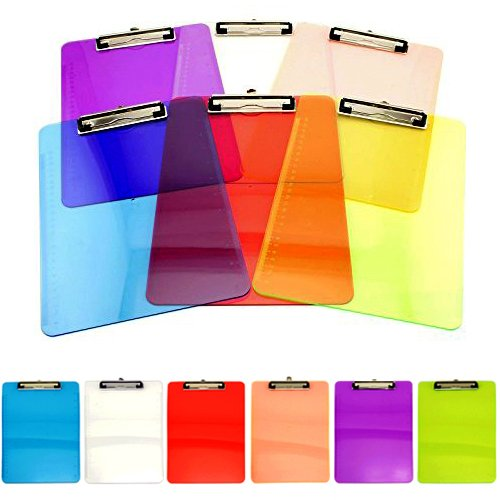 Adorox Set of 6 Standard Size Clipboards Clear Colorful Transparent Mix Assorted Colors